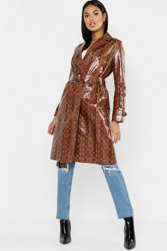 Womens Brown Snake Pu Mac