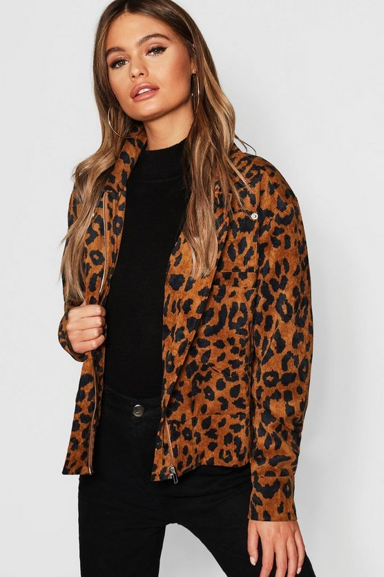 Oversized Leopard Cord Trucker Jacket