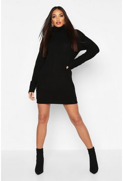 Womens Black Oversized Roll Neck Dress