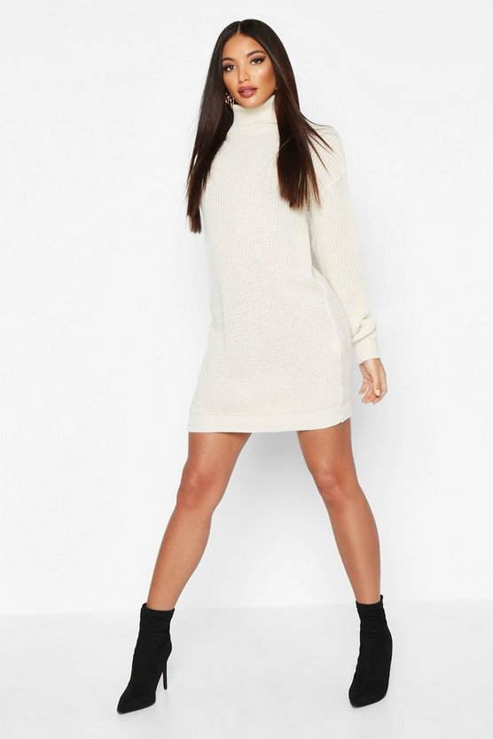 Womens Ivory Oversized Roll Neck Dress