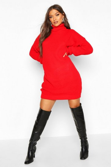 Womens Red Oversized Roll Neck Dress