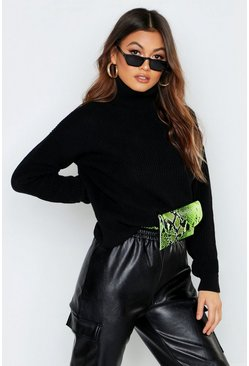 Womens Black Oversized Roll Neck Sweater