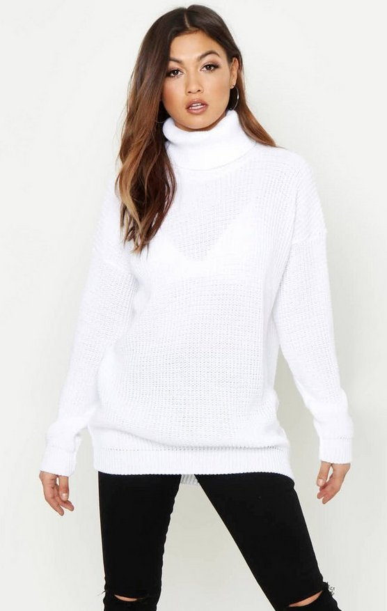 Womens White Oversized Roll Neck Sweater