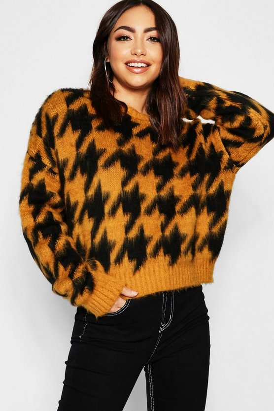 Oversized Fluffy Knit Dogstooth Jumper