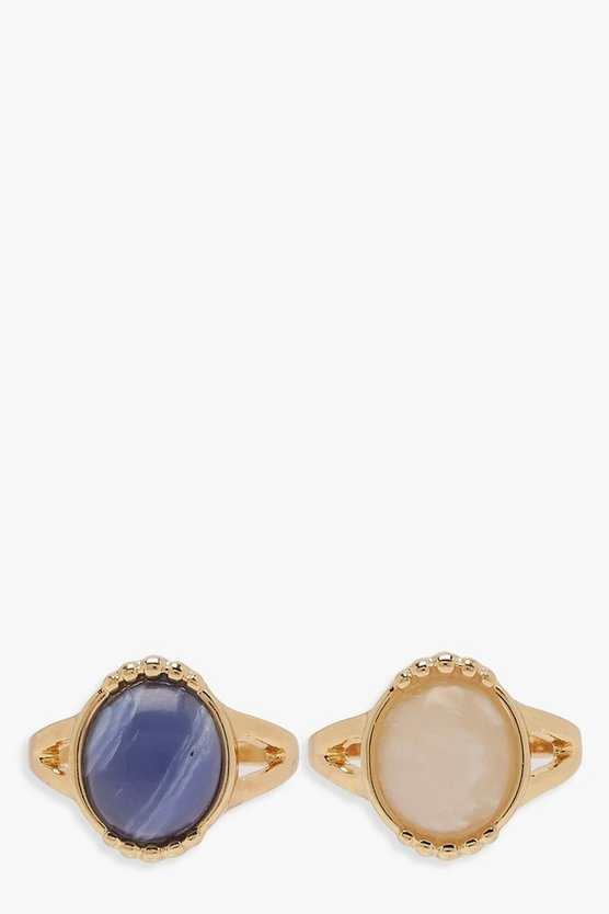Womens Gold Statement Stone Ring Pack