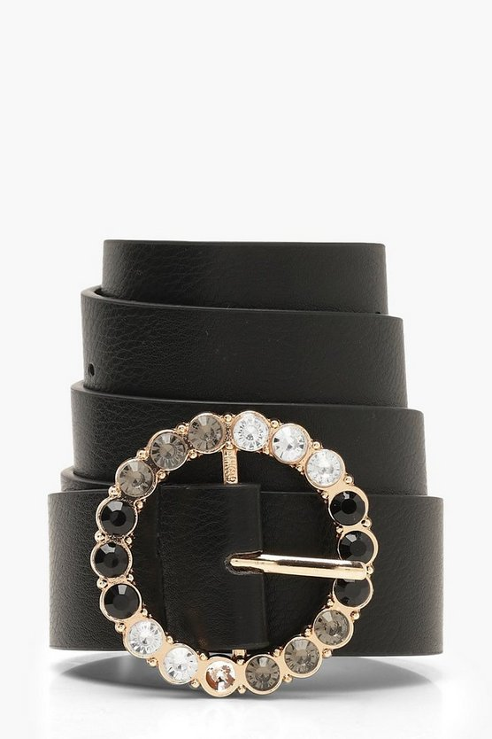 Diamante Round Buckle Belt