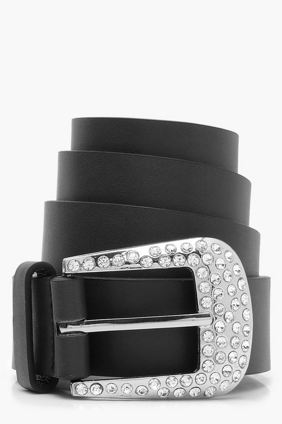 Diamante Buckle Boyfriend Belt