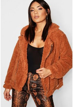 Womens Mocha Faux Fur Oversized Teddy Aviator