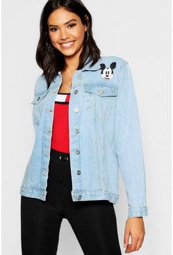 Womens Light blue Disney Mickey Graphic Denim Jacket