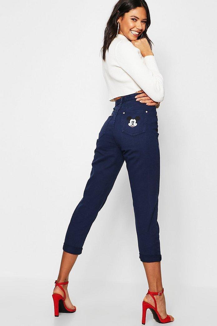 High Rise Disney Mickey Graphic Mom Jeans | boohoo Canada