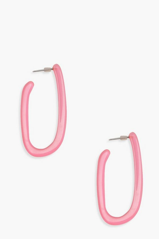 Womens Neon-pink Neon Resin Oval Hoop