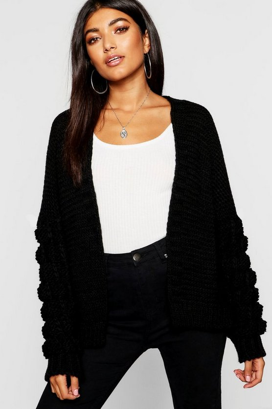 Womens Black Bobble Knitted Oversized Cardigan