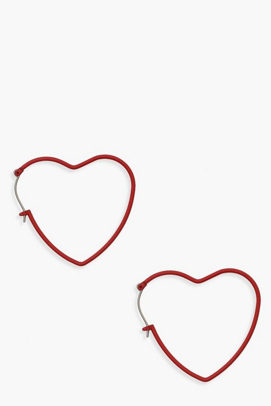 Womens Red Matte Red Heart Hoops