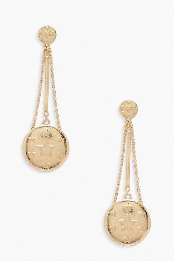 Womens Gold Star Coin Drop Earrings