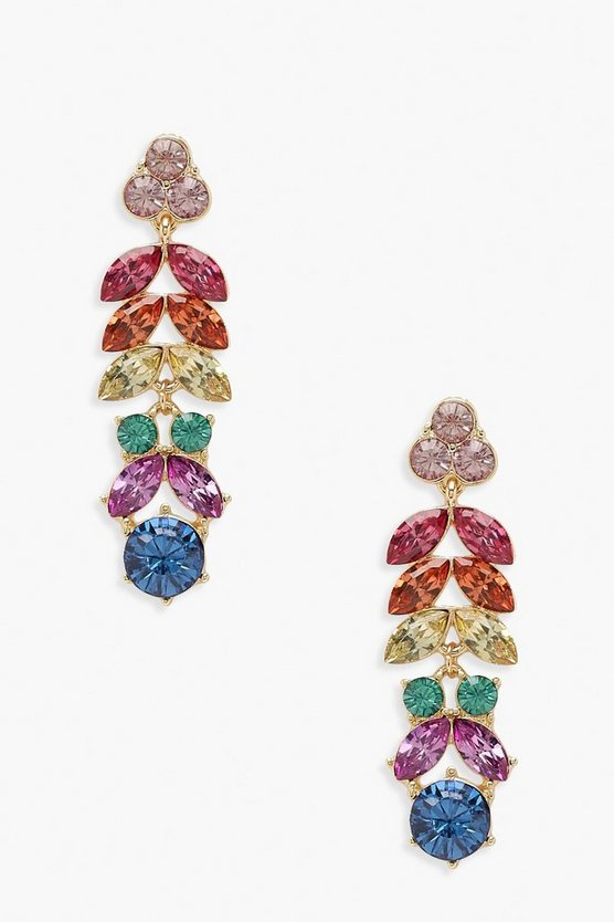 Womens Multi Statement Rainbow Gem Drop Earrings