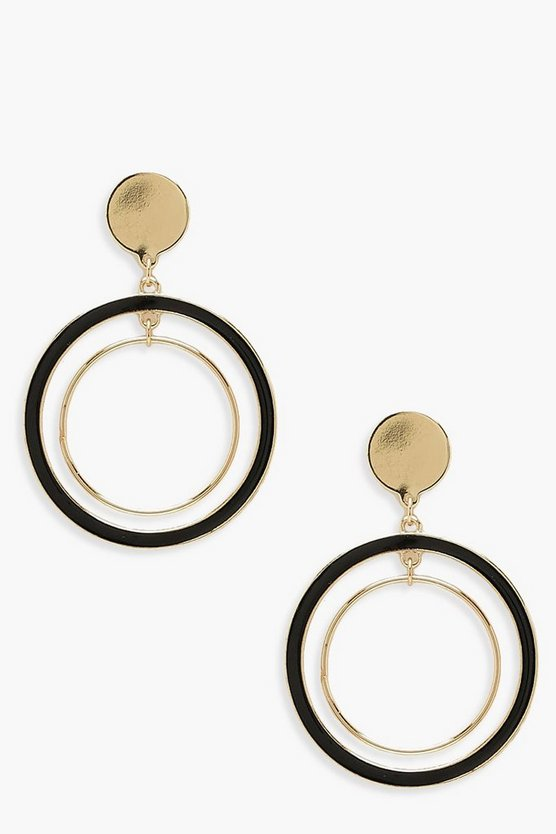 Womens Gold Contrast Double Hoop Earring
