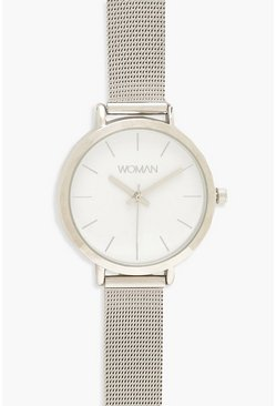Womens Silver Classic Metal Mesh Bracelet Watch