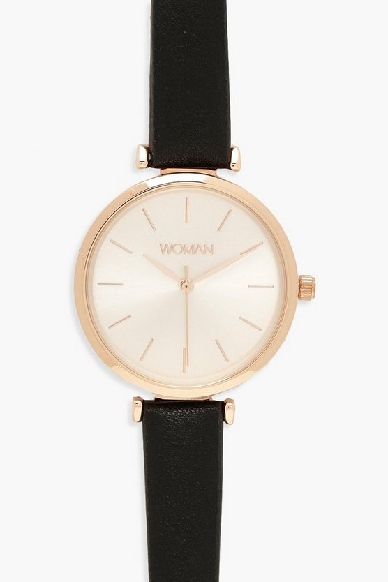 Rose Gold PU Strap Watch