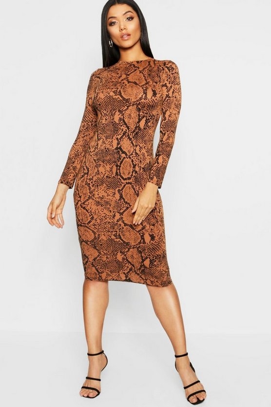 Womens Tan Snake Print Midi Dress