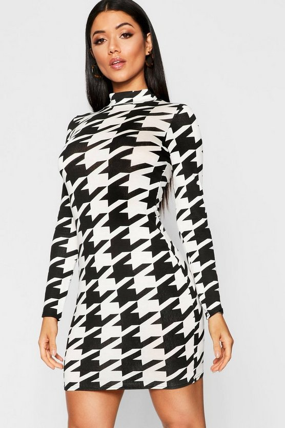 Womens Black Dogtooth High Neck Bodycon Dress
