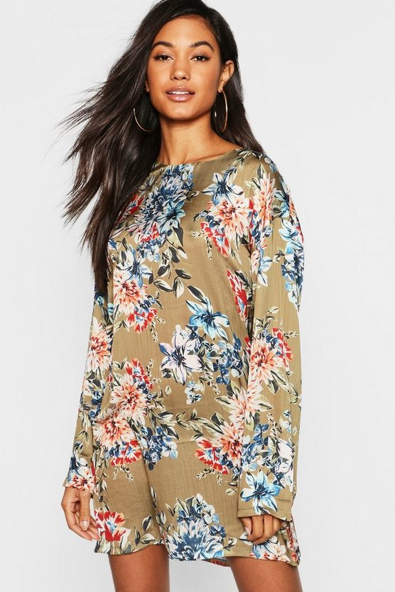 Khaki Floral Satin Shift Dress