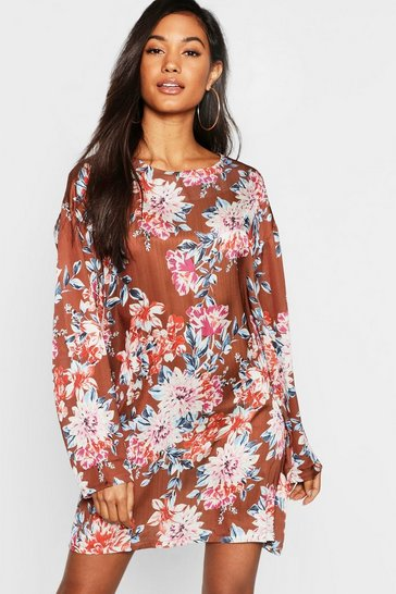 Womens Floral Satin Shift Dress