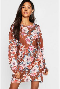 Womens Rust Floral Satin Shift Dress