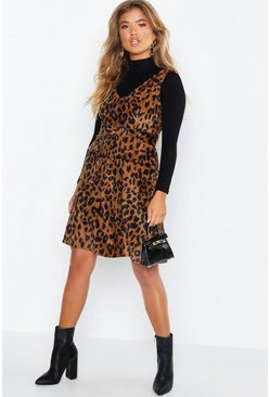 Womens Brown Leopard Print Cord V Neck Pocket Detail Belted Mini Dress