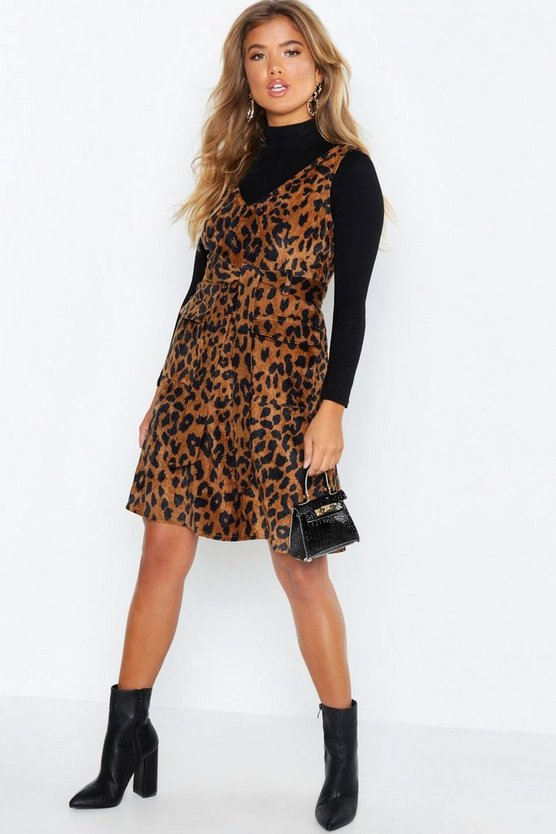 Leopard Print Cord V Neck Pocket Detail Belted Mini Dress