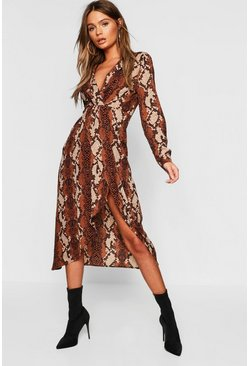 Womens Chocolate Petite Snake Wrap Knot Front Midaxi Shirt Dress
