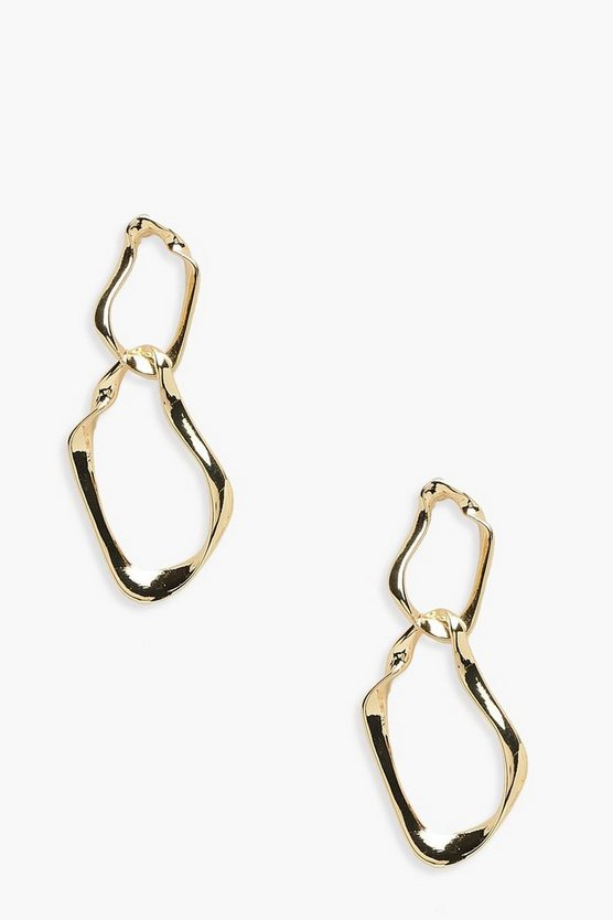 Distorted Twist Double Hoop Earrings