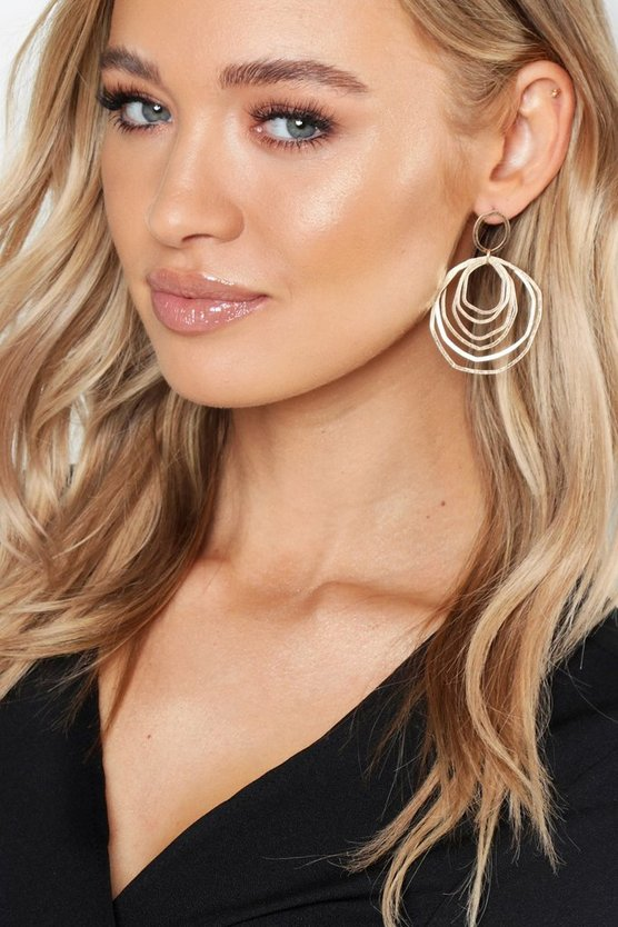 Womens Gold Multi Distorted Hoop Earrings