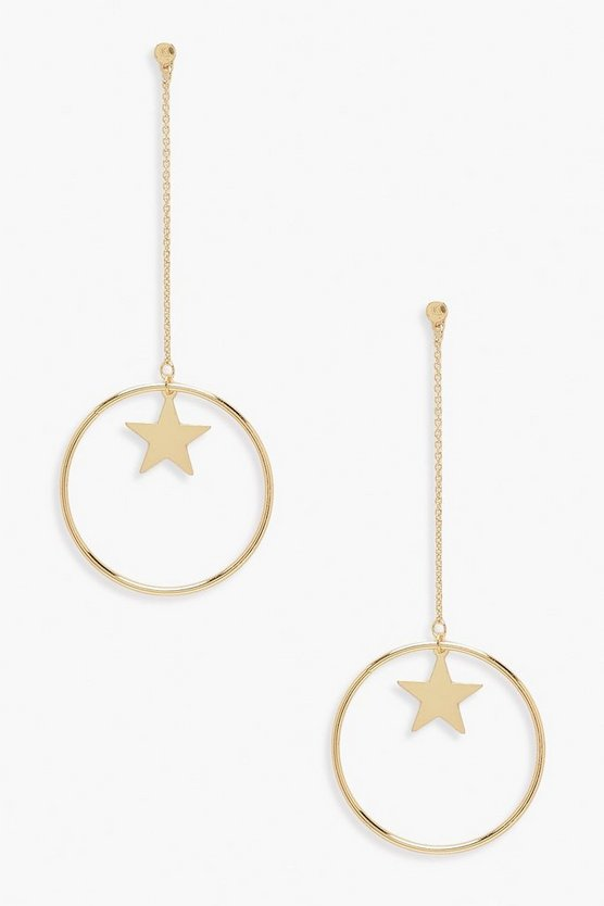 Womens Gold Star & Hoop Drop Earrings