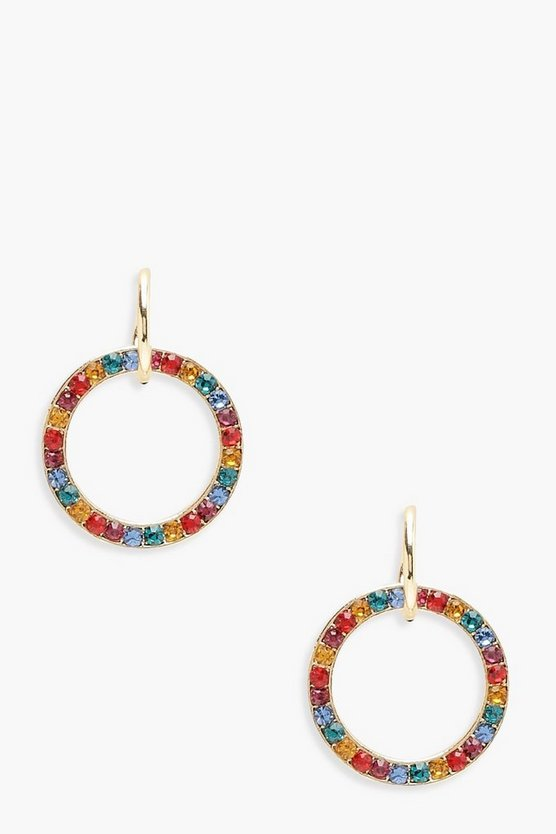 Womens Multi Rainbow Gem Hoop