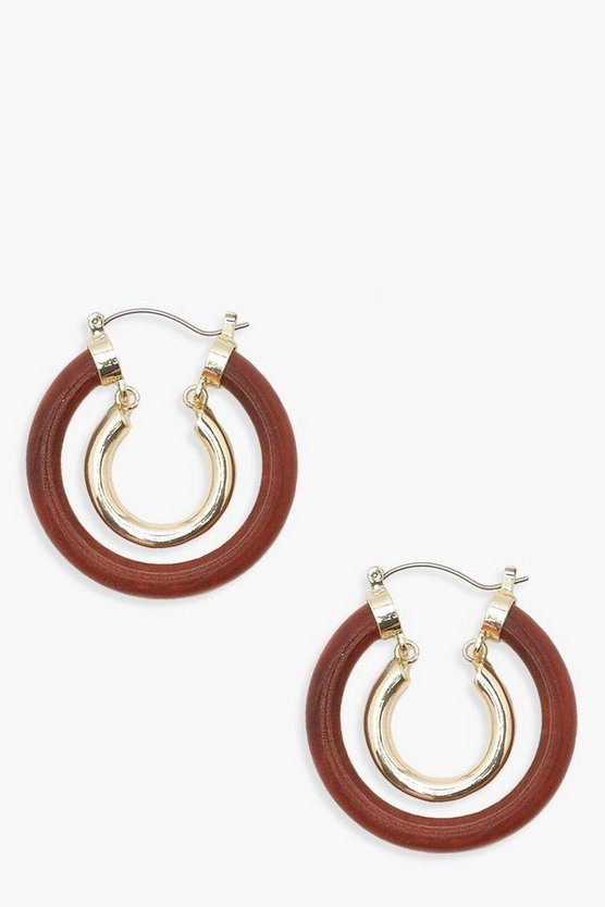 Wood Effect Resin & Gold Contrast Hoops