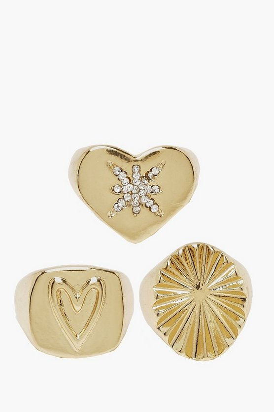 Womens Gold Heart & Star Signet Ring Pack