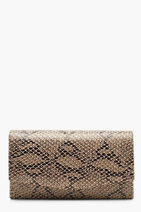 Womens Brown Structured Faux Snake Envelope Clutch