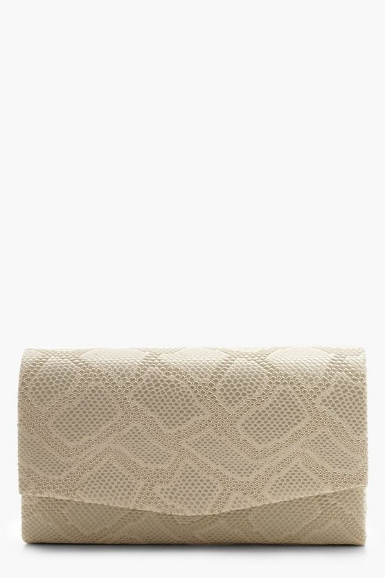 Structured Faux Snake Envelope Clutch