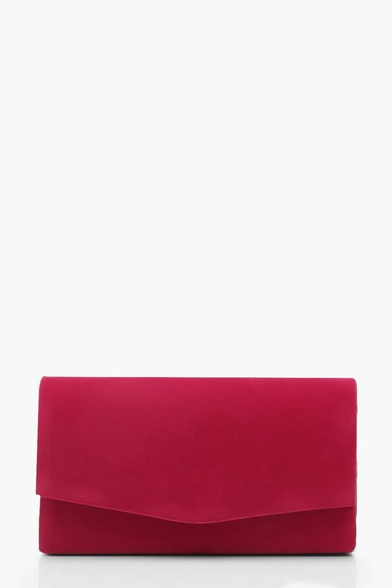 Womens Berry Structured Suedette Clutch With Chain