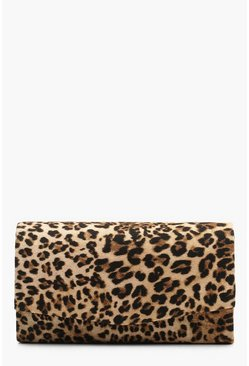 Natural Structured Leopard Envelope Clutch Bag & Chain