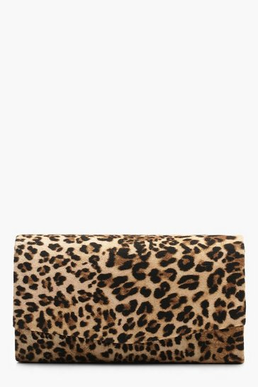 Womens Natural Structured Leopard Envelope Clutch Bag & Chain