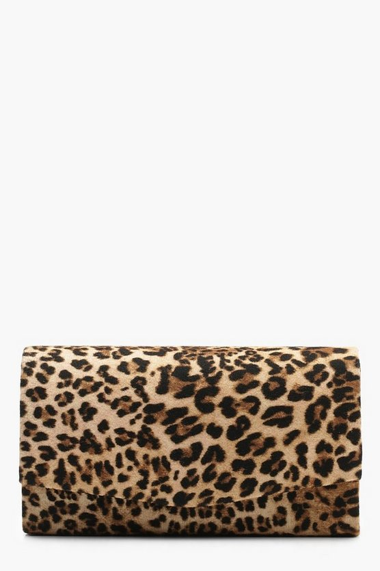 Womens Natural Structured Leopard Envelope Clutch & Chain