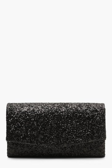 Womens Black Structured Glitter Envelope Clutch With Chain