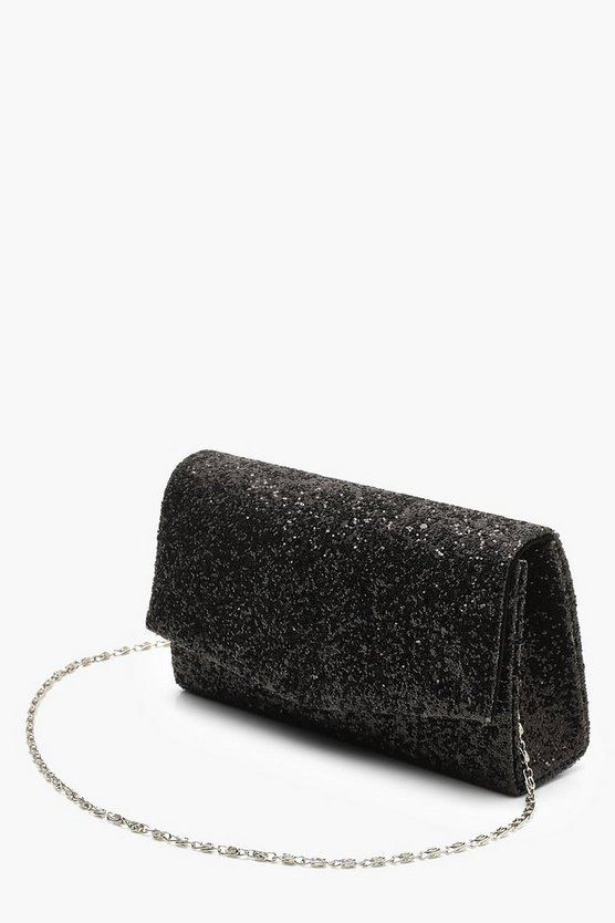Structured Glitter Envelope Clutch With Chain