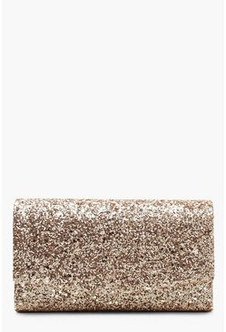 Rose Structured Glitter Envelope Clutch Bag With Chain