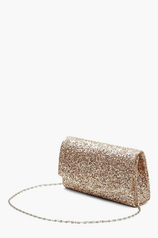 Structured Glitter Envelope Clutch Bag With Chain