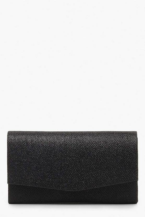 Womens Black Glitter Envelope Clutch Bag & Chain
