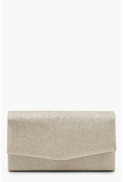 Gold Glitter Envelope Clutch Bag & Chain