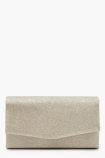 Womens Gold Glitter Envelope Clutch Bag & Chain