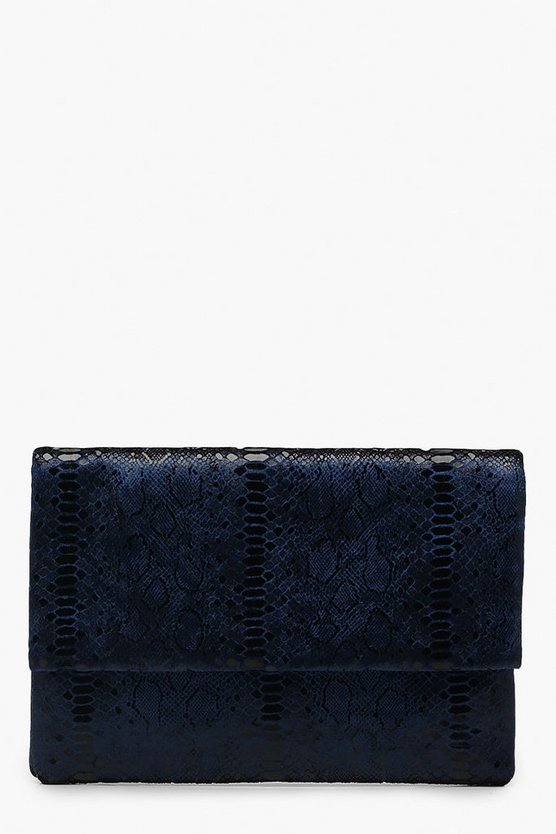 Metallic Snake Foldover Clutch
